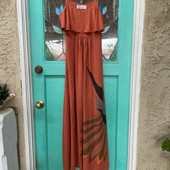 Free People Adobe Maxi Dress With Birds & Feathers